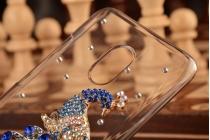 """Фирменная роскошная элитная пластиковая задняя панель-накладка украшенная стразами кристалликами и декорированная элементами для Meizu Pro 6 """"тематика Жар-Птица"""""""