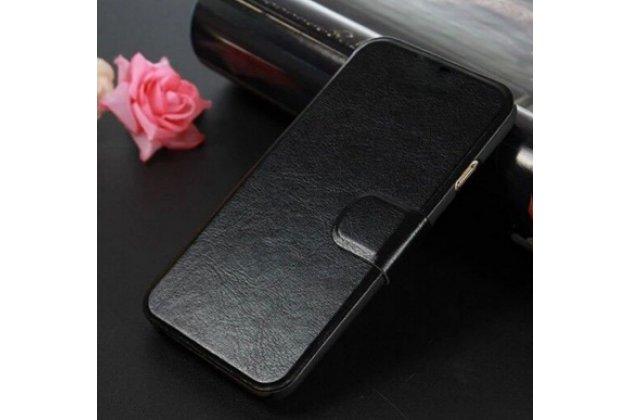 Фирменный чехол-книжка для Meizu Pro 6 с визитницей и мультиподставкой черный кожаный