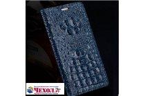 """Фирменный роскошный эксклюзивный чехол с объёмным 3D изображением рельефа кожи крокодила синий для Meizu Pro 6 5.2"""" . Только в нашем магазине. Количество ограничено"""