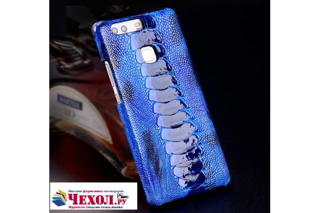 """Фирменная роскошная эксклюзивная накладка из натуральной КОЖИ С НОГИ СТРАУСА синяя  для Meizu Pro 6 5.2"""". Только в нашем магазине. Количество ограничено"""