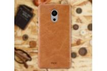 Фирменная роскошная элитная премиальная задняя панель-крышка для  Meizu Pro 6 из качественной кожи буйвола коричневый
