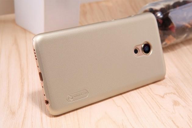 Фирменная задняя панель-крышка-накладка из тончайшего и прочного пластика для Meizu Pro 6 золотая