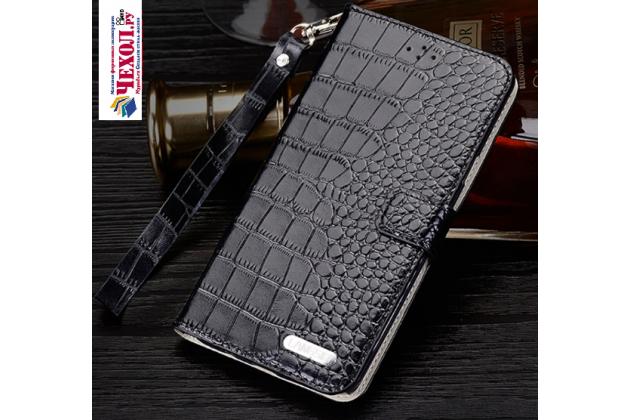 """Фирменный роскошный эксклюзивный чехол с фактурной прошивкой рельефа кожи крокодила и визитницей черный для Meizu Pro 6 5.2"""". Только в нашем магазине. Количество ограничено"""