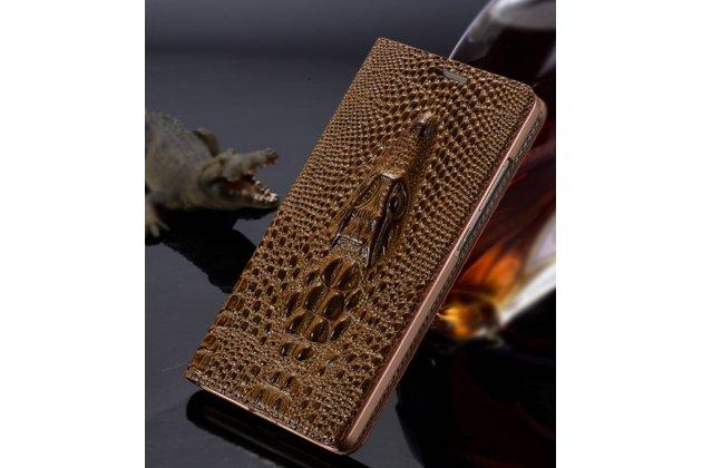 Фирменный роскошный эксклюзивный чехол с объёмным 3D изображением кожи крокодила коричневый для Meizu Pro 6. Только в нашем магазине. Количество ограничено