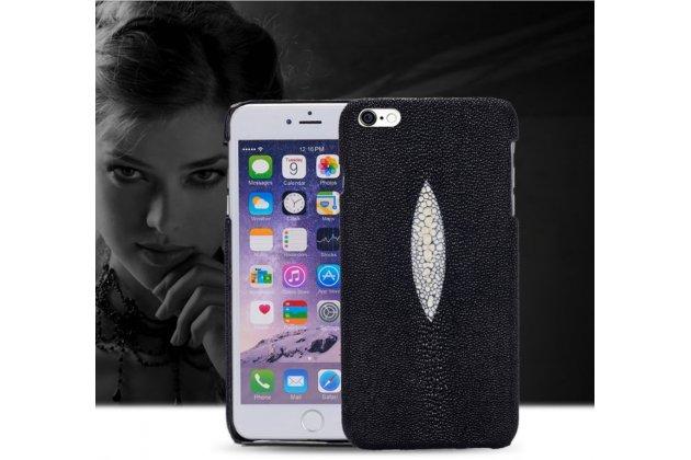 """Фирменная роскошная эксклюзивная накладка  из натуральной рыбьей кожи СКАТА (с жемчужным блеском) черная для HTC Desire 825 Dual Sim 5.5"""" .Только в нашем магазине. Количество ограничено"""