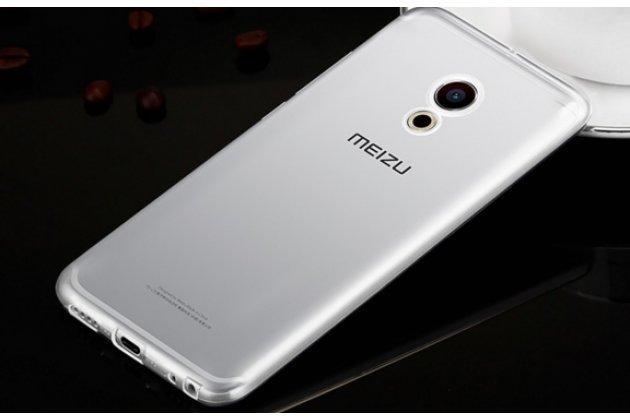 Фирменная ультра-тонкая полимерная из мягкого качественного силикона задняя панель-чехол-накладка для Meizu Pro 6 серебристая