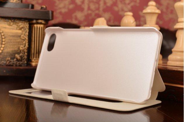 """Фирменный чехол-книжка для Meizu U10 5.0"""" белый с окошком для входящих вызовов и свайпом водоотталкивающий"""