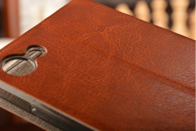 """Фирменный чехол-книжка из качественной водоотталкивающей импортной кожи на жёсткой металлической основе для Meizu U10 5.0"""" коричневый"""