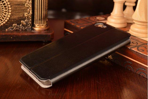 """Фирменный чехол-книжка водоотталкивающий с мульти-подставкой на жёсткой металлической основе для Meizu U10 5.0"""" черный"""