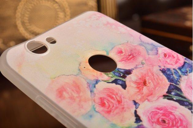 """Фирменная задняя панель-чехол-накладка из прозрачного силикона с рисунком для Meizu U10 5.0""""  """"тематика Акварельные розы"""""""