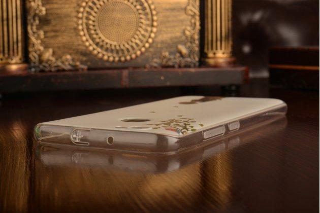 """Фирменная задняя панель-чехол-накладка из прозрачного силикона с рисунком для Meizu U10 5.0""""  """"тематика Девушка и птица"""""""
