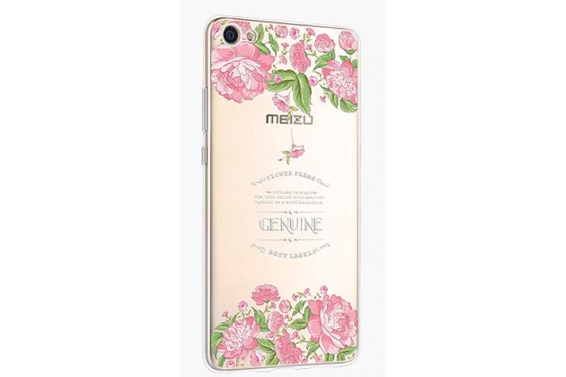 """Фирменная задняя панель-чехол-накладка из прозрачного 3D силикона с объёмным рисунком для Meizu U10 5.0""""  """"тематика Королевские розы"""" которая огибает логотип чтобы была видна марка телефона"""
