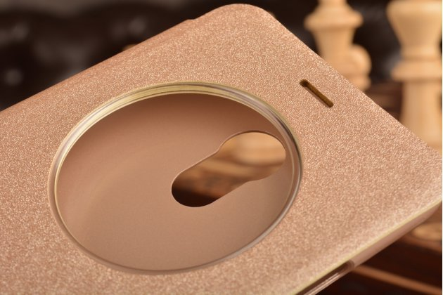 """Фирменный чехол-книжка для Meizu Pro 6 5.2"""" с функцией умного окна (фонарик, плеер, аналоговые часы) золотой"""