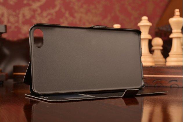 """Фирменный чехол-книжка для Meizu U20 5.5"""" черный с окошком для входящих вызовов и свайпом водоотталкивающий"""