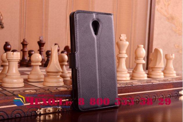 Фирменный чехол-книжка из качественной импортной кожи с мульти-подставкой застёжкой и визитницей для Мейзу М2 Ноте черный