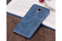 """Фирменная премиальная элитная крышка-накладка из тончайшего прочного пластика и качественной импортной кожи для Meizu M3/ M3 Metal/ M3S/ M3s Mini 5.0"""" (M688Q) """"Ретро под старину"""" синяя"""