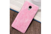 """Фирменная премиальная элитная крышка-накладка из тончайшего прочного пластика и качественной импортной кожи для Meizu M3/ M3 Metal/ M3S/ M3s Mini 5.0"""" (M688Q) """"Ретро под старину"""" розовая"""