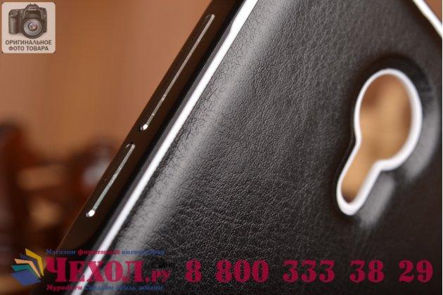 Фирменная роскошная элитная премиальная задняя панель-крышка на металлической основе обтянутая импортной кожей для Meizu MX5  королевский черный