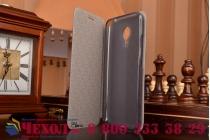 Фирменный чехол-книжка из качественной водоотталкивающей импортной кожи на жёсткой металлической основе для Meizu MX5 черный