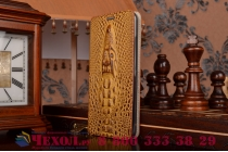 Фирменный роскошный эксклюзивный чехол с объёмным 3D изображением кожи крокодила коричневый для Meizu MX5 . Только в нашем магазине. Количество ограничено