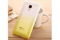 Фирменная из тонкого и лёгкого пластика задняя панель-чехол-накладка для Meizu MX5 прозрачная с эффектом песка