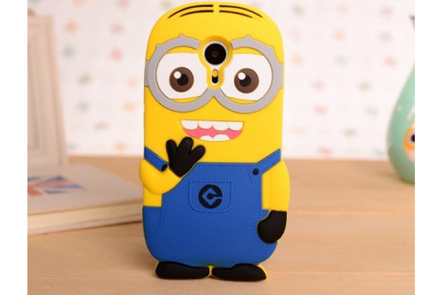"""Фирменная задняя панель-чехол-накладка с объёмным 3D изображением для Meizu MX5 """"тематика веселый Миньон"""" желтая"""