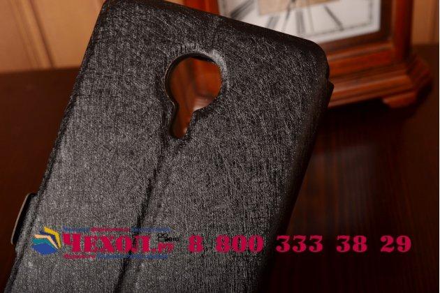 Фирменный оригинальный чехол-книжка для Meizu MX5 черный кожаный с окошком для входящих вызовов