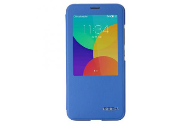Фирменный оригинальный чехол-книжка для Meizu MX5 синий кожаный с окошком для входящих вызовов