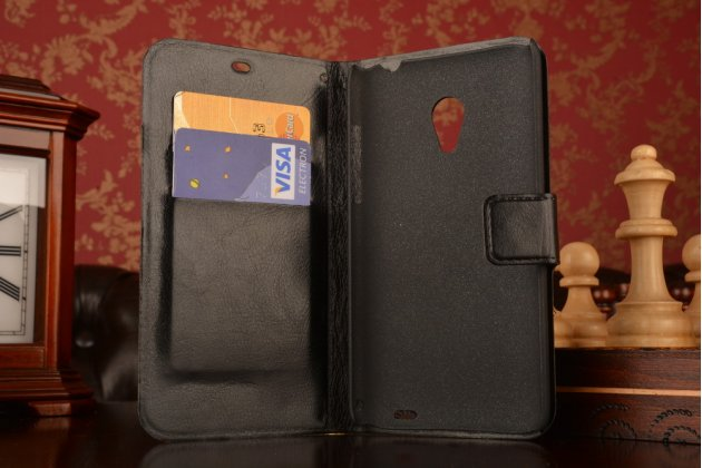 Фирменный чехол-книжка из качественной импортной кожи с мульти-подставкой застёжкой и визитницей для Meizu MX3 черный