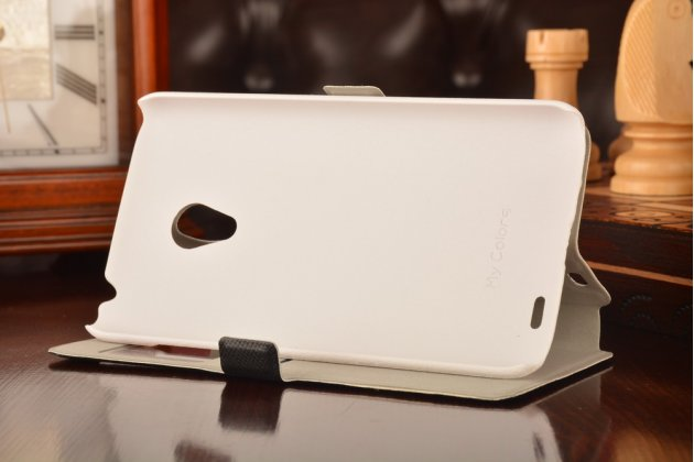 Фирменный чехол-книжка с безумно красивым расписным рисунком черепа на Meizu MX3 с окошком для звонков