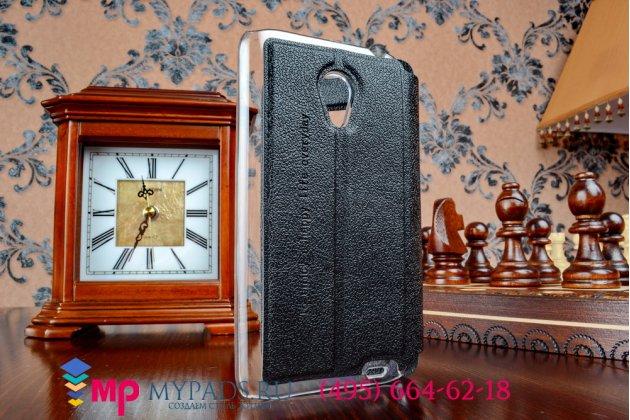 Фирменный оригинальный чехол-книжка для Meizu MX3 черный кожаный с окошком для входящих вызовов