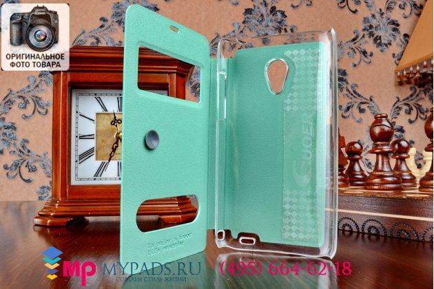 Фирменный оригинальный чехол-книжка для Meizu MX3 зеленый кожаный с окошком для входящих вызовов