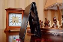 """Фирменный оригинальный вертикальный откидной чехол-флип для Meizu MX3 черный из качественной импортной кожи """"Prestige"""" Италия"""