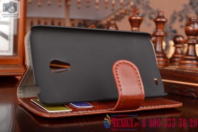 Фирменный чехол-книжка из качественной импортной кожи с мульти-подставкой застёжкой и визитницей для Meizu MX3 коричневый
