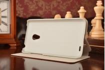 Фирменный чехол-книжка из качественной водоотталкивающей импортной кожи на жёсткой металлической основе для Meizu MX3 коричневый