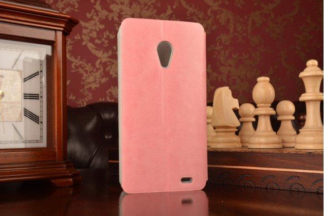Фирменный чехол-книжка из качественной водоотталкивающей импортной кожи на жёсткой металлической основе для Meizu MX3 розовый