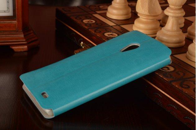 Фирменный чехол-книжка из качественной водоотталкивающей импортной кожи на жёсткой металлической основе для Meizu MX3 бирюзовый