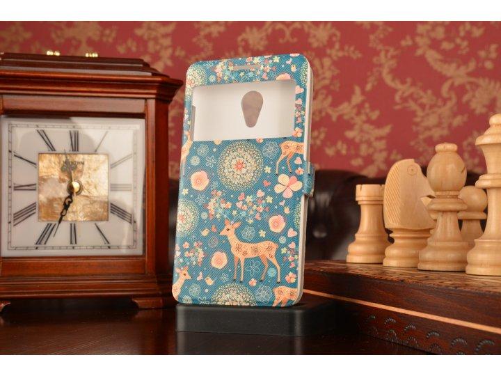 Фирменный чехол-книжка с безумно красивым расписным рисунком Оленя в цветах на Meizu MX3 с окошком для звонков..