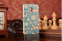 Фирменный чехол-книжка с безумно красивым расписным рисунком Оленя в цветах на Meizu MX3 с окошком для звонков