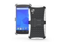 Противоударный усиленный ударопрочный фирменный чехол-бампер-пенал для LG Google Nexus 5 D821 белый