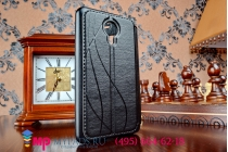 Фирменный оригинальный чехол-книжка для Meizu MX4 черный кожаный с окошком для входящих вызовов