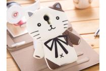 """Фирменная задняя панель-чехол-накладка с объёмным 3D изображением для Meizu MX4  """"тематика кот Джентельмен"""" бежевая"""