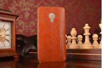 Фирменный чехол-книжка из качественной водоотталкивающей импортной кожи на жёсткой металлической основе для Meizu MX4 коричневый
