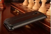Фирменный оригинальный чехол-книжка для Meizu MX4черный  кожаный с окошком для входящих вызовов