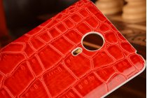 Родная оригинальная элитная роскошная задняя крышка-панель-корпус для Meizu MX4 обтянутая кожей крокодила красная