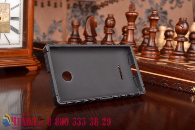 Противоударный усиленный ударопрочный фирменный чехол-бампер-пенал для Microsoft Lumia 532 черный