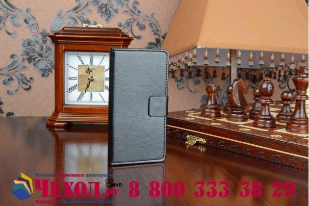 Фирменный чехол-книжка из качественной импортной кожи с мульти-подставкой застёжкой и визитницей для Майкрософт Микрософт Нокия Люмия 640 черный