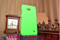 Фирменная задняя панель-крышка-накладка из тончайшего и прочного пластика для Microsoft Lumia 640 зеленая