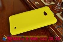 Фирменная задняя панель-крышка-накладка из тончайшего и прочного пластика для Microsoft Lumia 640 желтая