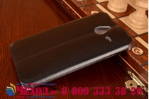 Фирменный чехол-книжка из качественной водоотталкивающей импортной кожи на жёсткой металлической основе для Microsoft Lumia 640 XL черный